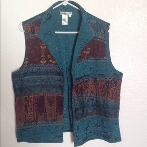 Coldwater Creek teal vest 100% silk